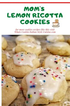 Mom's Lemon Ricotta Cookies Best Cookie Recipes, Best Dessert Recipes, Easy Desserts, Baking Recipes, Sweet Recipes, Holiday Recipes, Delicious Desserts, Awesome Desserts, Lemon Ricotta Cookie Recipe