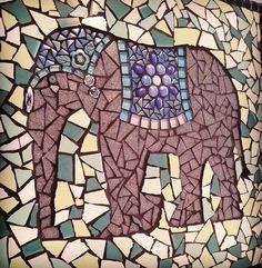 Mosaic elephant wall hanging