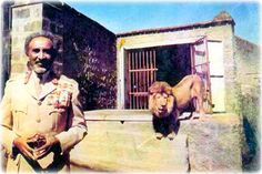 Haile Selassie, hanging out with one of his lions like it ain't no thing