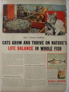 PUSS'N BOOTS CAT FOOD VINTAGE ADVERTISEMENT, 1954