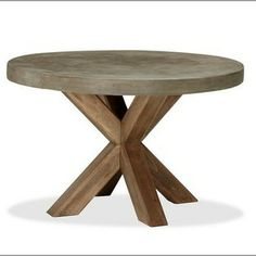 for the patio - Abbott Faux-Concrete Top Round Fixed Dining Table - modern - outdoor tables - Pottery Barn Round Outdoor Dining Table, Diy Outdoor Table, Modern Dining Table, Patio Table, Outdoor Furniture, Round Tables, Dining Sets, Diy Table, Dining Tables
