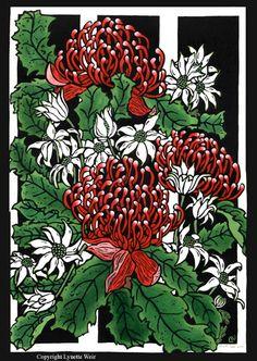 Waratahs & Flannel Flowers 2001 by Lynette Weir Australian Wildflowers, Australian Native Flowers, Australian Artists, Linocut Artists, Lino Art, Flannel Flower, Art For Art Sake, Wildlife Art, Botanical Art
