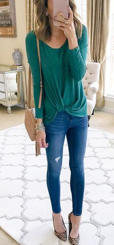 #fall #outfits women's green long-sleeved scoop-neck shirt with blue denim skinny jeans