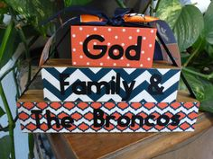 """Homemade wood block set """"God, Family & The Broncos"""": home office decor sports family gift husband father sign by PatchofHeavenCountry on Etsy"""
