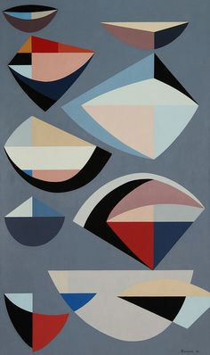 Karl Benjamin: Abstraction, 1955. Oil on canvas. 50 x 30 inches. Laguna Art Museum Collection