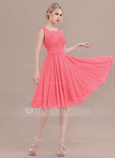 351fc8a58c A-Line/Princess Square Neckline Knee-Length Chiffon Lace Bridesmaid Dress  (007117364)