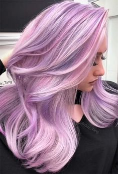 55 Dreamy Lilac Hair Color Ideas: Lilac Hair Dye Tips - Glowsly Lilac Hair Dye, Pastel Pink Hair, Hair Color Purple, Blonde Color, Cool Hair Color, Hair Colors, Soft Purple, Pastel Colors, Gray Hair