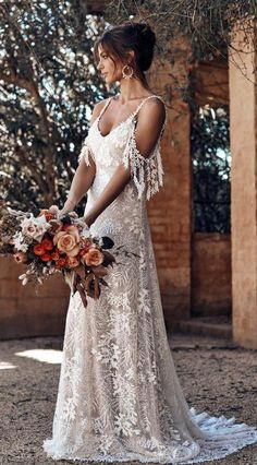 Polka Dot Long Sleeve Boho Wedding Dresses Lace Bohemian Backless Wedding Gowns - New ideas Garden Wedding Dresses, Country Wedding Dresses, Wedding Dress Trends, Bohemian Wedding Dresses, Cheap Wedding Dress, Dream Wedding Dresses, Bridal Dresses, Wedding Ideas, Party Wedding