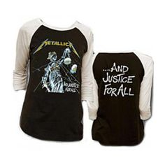 Metallica Justice Raglan - You'll be promoting equality in style with this officially licensed Metallica Justice Men's Raglan shirt.