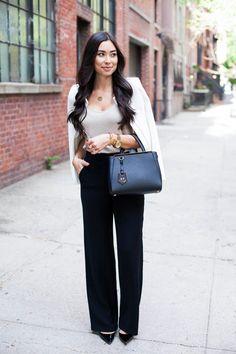 Polished - Kat wearing an Iro Jacket, State Pants, Three Dots Tank, Jimmy Choo Heels and Fendi Bag.