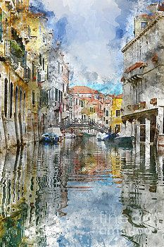 Venice Italy Canals with Colorful Buildings by Brandon Bourdages