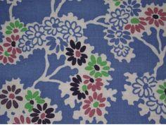 Vintage feed sack; Blue background pink, green, purple daisy flowers; NICE | eBay
