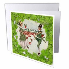 3dRose Irish Couple Dancing (Vintage), Greeting Cards, 6 x 6 inches, set of 6