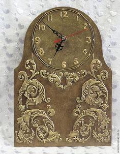 Купить Часы настенные Бронзовый узор - коричневый, часы, часы настенные, часы интерьерные