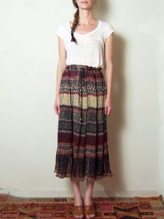 INDIAN FLORAL GAUZE crinkle midi skirt m  l by TheLovedOne on Etsy, $28.00