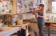 Potter Charlotte Hupfield in her studio