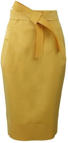 Oscar de la Renta ~ Tie Waist Slim Skirt with Pocket
