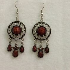 Silver tone dangling earrings Silver tone dangling earrings with brown inlay Jewelry Earrings