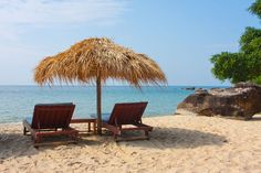 One of the prettiest beaches near Sihanoukville with its silicon-like sand. It's rarely crowded and definitely worth a visit. Pretty Beach, Outdoor Furniture, Outdoor Decor, Cambodia, Sun Lounger, Beaches, To Go, Patio, Explore