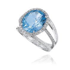 Anel Ouro Branco Diamante e Topázio Vibrante Médio