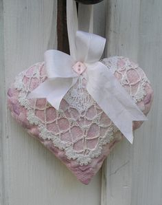 Quilted Heart Lavender Sachet - Pink with Vintage Crochet and Silk Ribbon Valentine Gift Lavender Bags, Lavender Sachets, Little Valentine, Valentine Gifts, Shabby Chic Hearts, Fabric Hearts, Lace Heart, Vintage Crochet, Crochet Lace