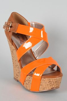 Qupid Finder-48 Criss Cross Open Toe Wedge
