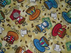 Cotton Quilt Fabric The Chef/'s Choice Coffee Cup Robert Kaufman by 1//2Yard