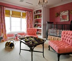 sophisticated pink nursery (looks like it would convert to child bedroom pretty easy)