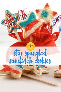 These buttery, sprinkle sandwich cookies make a fun Fourth of July centerpiece. Fourth Of July Drinks, Fourth Of July Cakes, 4th Of July, Blue Food, White Food, Star Cookie Cutter, Cookie Dough, Star Cookies, Cake Videos