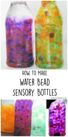 How to make water bead sensory bottles aka discovery bottles. Beautiful and fun baby safe sensory play idea