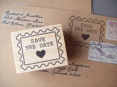 Cute!  Save the Date Rubber Stamp, Postage Stamp Style, for Wedding Invitation Envelopes