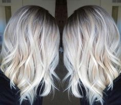 Icy Blonde Color for Shoulder Length Hair