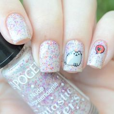 Pusheen nail art by Brasil_nailart Aycrlic Nails, Cat Nails, Glitter Nails, Beautiful Nail Designs, Cute Nail Designs, Gorgeous Nails, Pretty Nails, Pusheen, Cat Nail Art