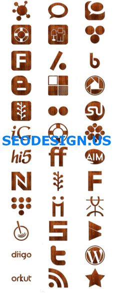 136 Wood Grunge Glossy Social Icons Set