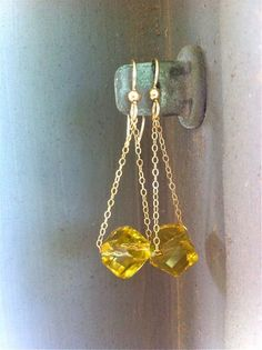 Gold drop earrings Yellow jewelry Crystal yellow by piedrastudio, $28.00