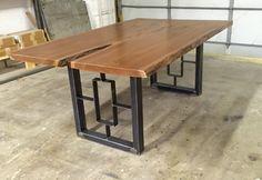 Square-Rectangular  Modern Dining Table Legs, Industrial Legs, Set of 2 Steel Legs by MetalAndWoodDesign