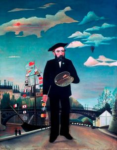 Henri Rousseau-Myself: Portrait-Landscape, oil on canvas by Henri Rousseau, 1890; in the National Gallery