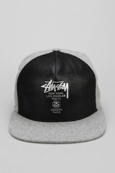 8b9a2dabc44c1 Awesome faux leather snapback hat from Stussy.  urbanoutfitters  CoolHats  Leather Snapback