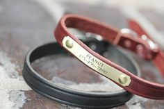 Small Dog Leather Collar, Black Leather Collar, Personalized Dog Collar on Etsy, $25.00