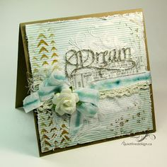 Dream mixed media card using Elizabeth Craft Designs die (designed by Suzanne Cannon), Tim Holtz stencils and Ranger Ink products.