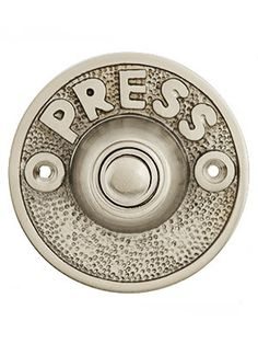 "$11.59, Vintage ""Press"" Door Bell Button In Solid, Cast Brass 