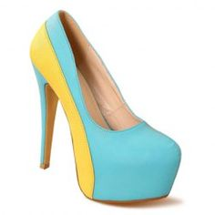 Party Women's Pumps With Candy Color blocking and Platform Design