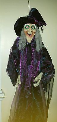 "71"" Life Size Hanging Animated Talking Witch Halloween Haunted House Prop... New"