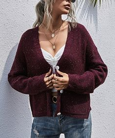 Chateau Amour Wine Red Melange Pocket Cardigan - Women | Best Price and Reviews | Zulily Oversized Cardigan, Sweater Cardigan, Cardigan Fashion, Red Sweaters, Cardigans For Women, Long Sleeve Sweater, Amazing Women, Fall Winter, V Neck