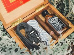 12 a box with a bow tie, suspenders, whiskey and a cigar is eveyrthing that a groomsman needs - Weddingomania Presents For Boyfriend, Presents For Men, Gifts For Husband, Gifts For Father, Gifts For Boys, Boyfriend Gifts, Fathers, Handmade Gifts For Men, Unique Gifts For Men