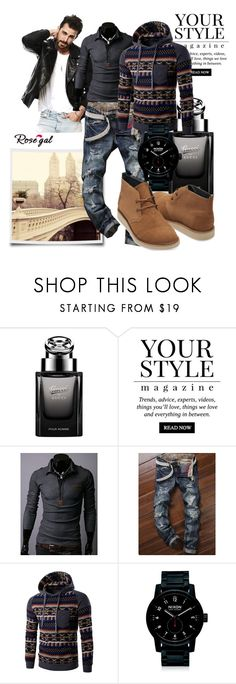 """""""Autumn men style 28."""" by merimaa997 ❤ liked on Polyvore featuring Gucci, Pussycat, Nixon, TOMS, men's fashion and menswear"""
