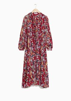& Other Stories image 2 of Floral-Print Maxi Dress in Red Dark