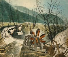 """""""The Waterwheel by Eric Ravilious 1938 ( Capel-y-ffin, Powys. The waterwheel was used to power a grindstone for knife-sharpening. Art And Illustration, David Hockney, Landscape Art, Landscape Paintings, Landscapes, John Minton, Queen Art, Wood Engraving, Painting & Drawing"""