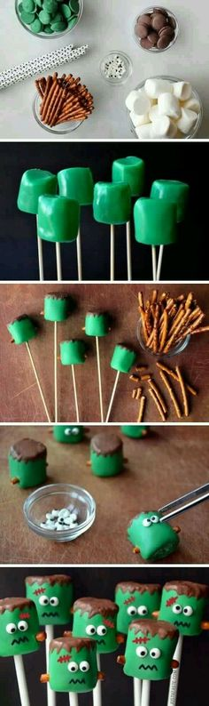 Frankenstein Marshmellow pops