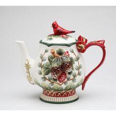 Christmas Teapot w/ Cardinal on Lid - Bird Teapot Tea Pot